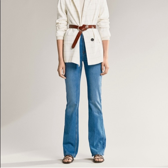 Massimo Dutti Flare Fit Wide Leg High Rise Jeans